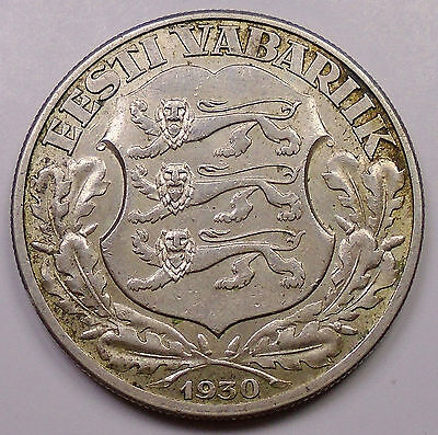 1930 Estonia 2 Krooni VF-XF ** SCARCE & Nice 1 Year Type LOW Mintage SILVER Coin