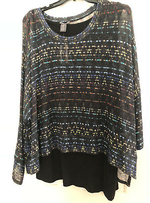 Chelsea & Theodore Textured Poncho Pullover Sweater Womens Plus Size 3X NWT $74