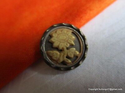 5373-A – Small Ivoroid 1800's Floral Motif Brass Button