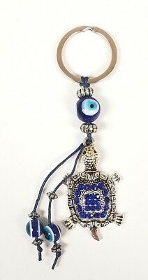 Lucky Detailed Turtle Key Chain Hanging Ring Feng Shui Blue Evil Eye Protection