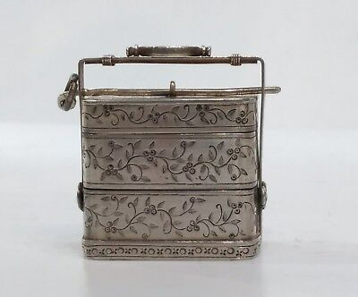Antique Chinese Export Silver Miniature Stacking Basket, Bats, Lw Shanghai