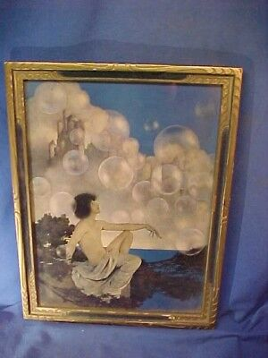 Orig 1920s MAXFIELD PARRISH Illustrated BUBBLES Framed PRINT 17 x 13