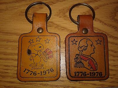 Snoopy and George Washington Bicentennial Leather Keyrings