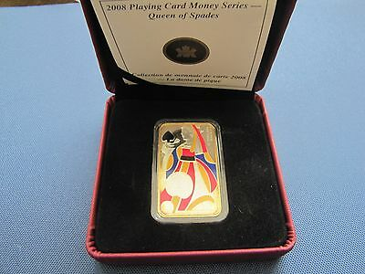 2008 Royal Canadian Mint $15 Queen Playing Card .925 Silver Bar (31.56 grams)