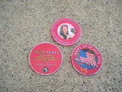 Lot of 3 TRUMP PLAZA CASINO $5 CHIPS Worlds Fair Miss America Atlantic City