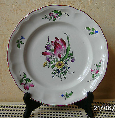 "Ancienne Assiette Decoration Luneville Kg France ""tulipes"""