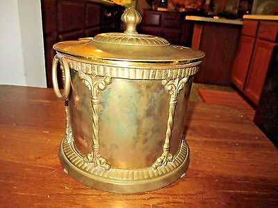 "A Vtg.brass Drum Ice Bucket,made In India--Attached Lid,acorn Knob--7-1/4"" High"