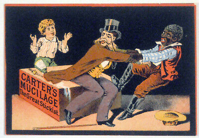 LATE 1800's  VICTORIAN TRADE CARD BLACK HISTORY CARTERS MUCILAGE ++GRAPHICS 0008