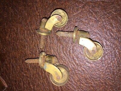 Antique Brass Furniture Castors Trolley Wheels Hardware x3 Vintage Old Victorian