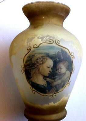 Ancient Roman Glass Vase Iridescent Mary With Child Jesus Vintage Large Vase 12""