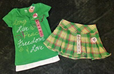 Girls Sz 10/12 M SO Kelly Green Plaid Skort/Skirt Outfit Set NEW NWT