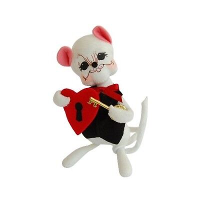 """ANNALEE ~ 2014 ~ Valentines ~ 6"""" ~ """"Key To My Heart"""" White Mouse ~ #100514 ~ NWT"""