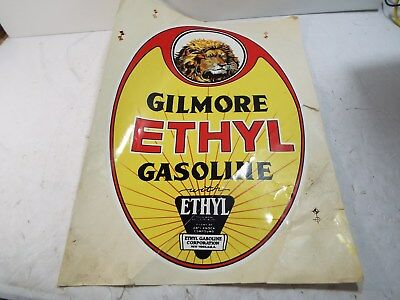 "GILMORE 18"" x 12"" GILMORE ETHYL Gasoline Decal DECAL HAS SLICE Lower Right"