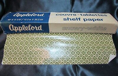 NOS Vintage Mid-Century Appleford   green pattern SHELF PAPER