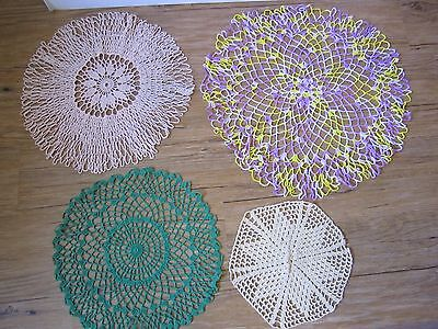 """Lot of 4 Vintage Round Hand Crocheted Doilies - 9"""" to 19"""""""