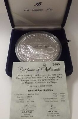 1988 Nepal 5Oz Silver Snow Leopard Case And Coa #2605