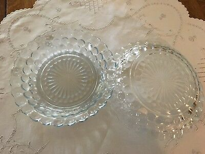 2 Blue Bubble Flat Soup Dishes * Depression Glass * A