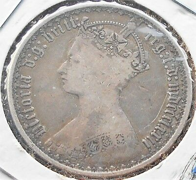 .925 Silver 1872 Great Britain Gothic Florin KM# 746 Queen Victoria Nice # WB 4