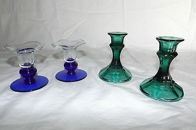 Lot Of 4 Candle Holders 2 Matching Emerald Green Vintage And 2 Blue And Clear Gl