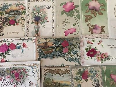 Beautiful Lot of 12 SILK EMBOSSED Vintage Antique Silk Greetings Postcards-p183