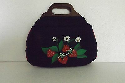 Vintage Handbag/purse With Wood Handles And Strawberries On The Front Red And Wh