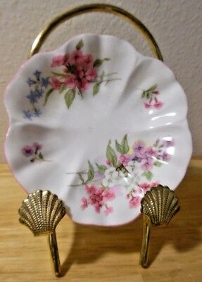 """Shelley Stocks Footed Pink and Blue Floral Pin Nut Trinket Dish 4.5"""" diameter"""