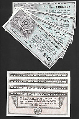 "(((((Wow))))) 4/consecutive $10 Series 461 ""military Payment Notes"" Ch/unc"