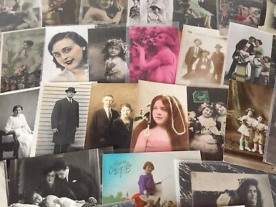 Nice Lot of 38 old Real Photo-Men-Women-Children-Fashion Photos Postcards-j-84