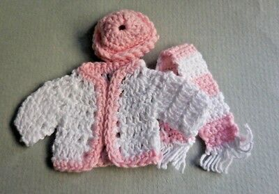 Dollhouse Miniature ~ Woman's 3 Piece Pink Sweater Set