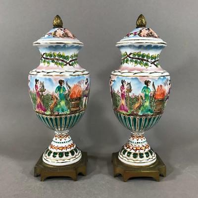 Pair of CAPODIMONTE Mantel Urns with French Gilt Bronze Mounts, Classical Scenes