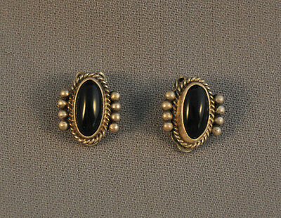 """Old Vintage Navajo Sterling Silver With Onyx Earrings - 5/8"""" By 1/2"""""""