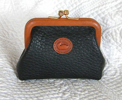 Vintage Dooney and Bourke Kisslock Coin Purse ~ Black and Tan and Cute