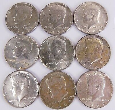 Lot Of 9 1964 Kennedy 90% Silver Half Dollars Free S/h # 1052