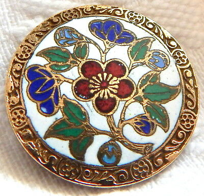 ANTIQUE 19th C. GILT BRASS BUTTON w/RED, BLUE & GREEN CHAMPLEVE ENAMEL FLOWERS