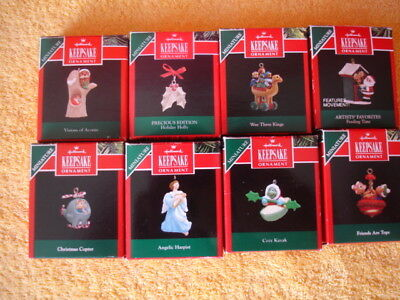 Hallmark (Lot of 8 Miniature Christmas Ornaments) 1992 with boxes