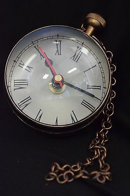 "Antique Style Large Orb Clock w/chain  -  4.5"" Diameter - New w/out tags"