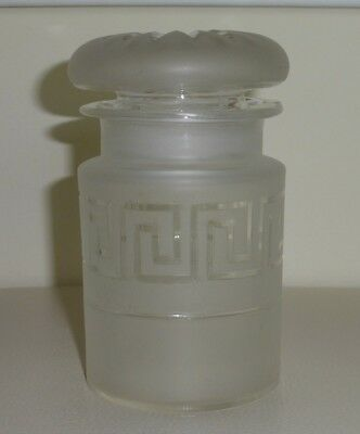 Vintage Lidded Frosted Glass Apothecary Jar Greek Key