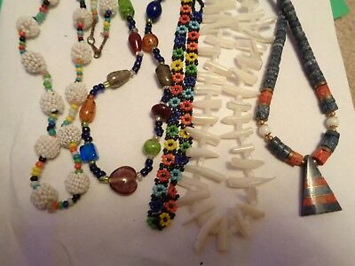 Vintage Antique LOT OF 5 GLASS & Mother of Pearl Stone Beaded Necklaces
