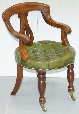 Rare Victorian Mahogany Framed Chesterfield Green Leather Desk Chair Hand Dyed