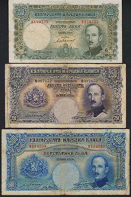 Banknote set 3 pcs BULGARIA - 200, 250 and 500 Leva 1929 - P. 50-52