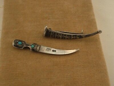 Antique Imperial Russian Caucasian Dagger Silver 84 Niello Turquoise Brooch