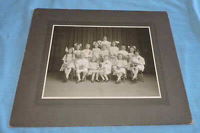 Vintage Group Photograph of Children Dressed in White Holding Flowers  - C3064