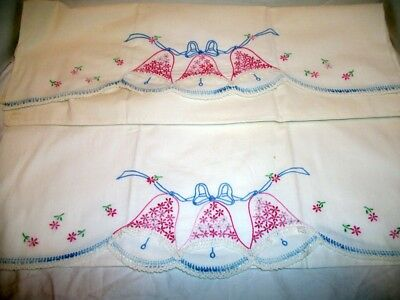 Vintage Pair of Embroidered Pillowcases Floral Bells, Crocheted Trim