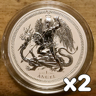 2017 Isle of Man Angel Silver Coin Reverse Proof .999 - 5000 Minted! (Lot of 2)