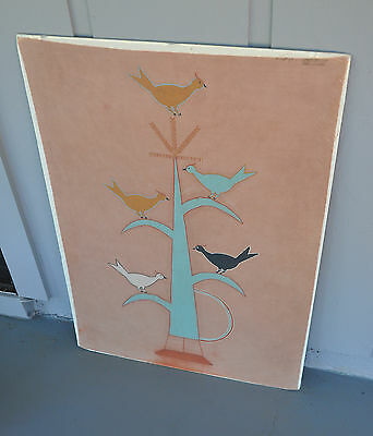 Vintage Navajo Memory Aid / Picture Painting - Earth Pigments Cloth - Hathale