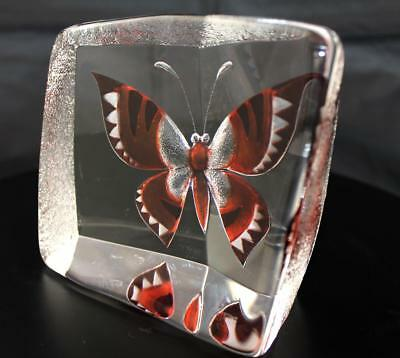 Hand Etched Butterfly Crystal - Mats Jonasson - New From Gallery - (21056)