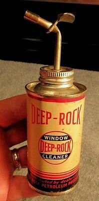 Vintage Very Rare Deep Rock Oil & Gasoline Company Window Cleaner Tin Oil Can