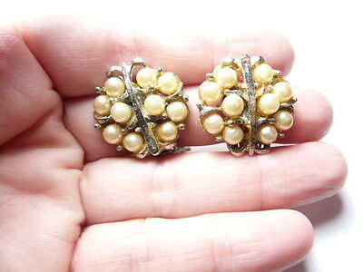 Vintage Gold Tone Metal Off White Faux Pearl Beaded Clip On Earrings