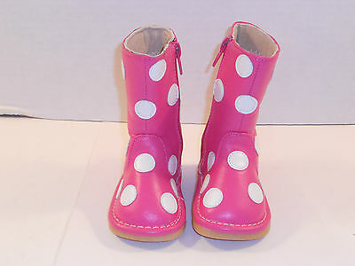 Pink And White Polka Dot Leather Toddler Girl Boots Sz 1 Super Cute