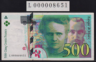 Banknote FRANCE - 500 Francs 1994 - P. 160a very low serial #L000008651